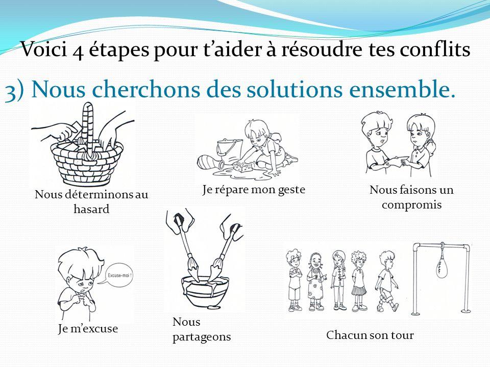 3) Nous cherchons des solutions ensemble. Voici 4 étapes pour taider à résoudre tes conflits Chacun son tour Nous faisons un compromis Je répare mon g