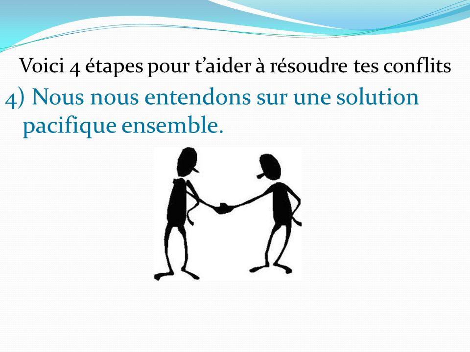 4) Nous nous entendons sur une solution pacifique ensemble. Voici 4 étapes pour taider à résoudre tes conflits