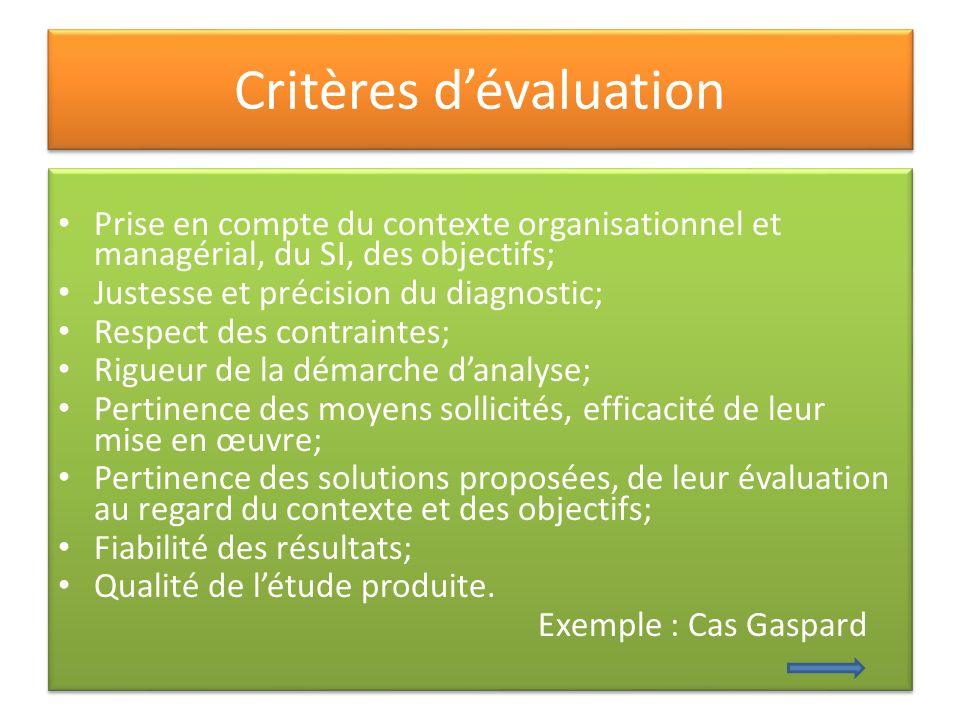 Critères dévaluation Prise en compte du contexte organisationnel et managérial, du SI, des objectifs; Justesse et précision du diagnostic; Respect des
