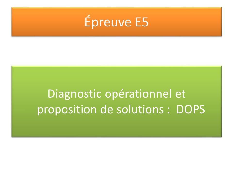Épreuve E5 Diagnostic opérationnel et proposition de solutions : DOPS