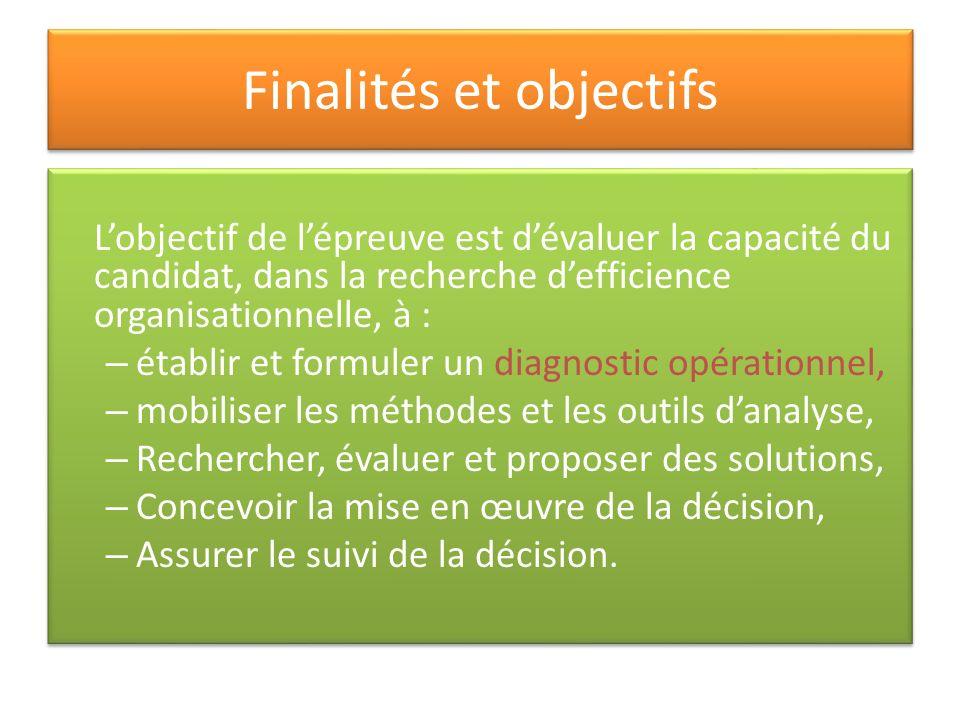 Finalités et objectifs Lobjectif de lépreuve est dévaluer la capacité du candidat, dans la recherche defficience organisationnelle, à : – établir et f