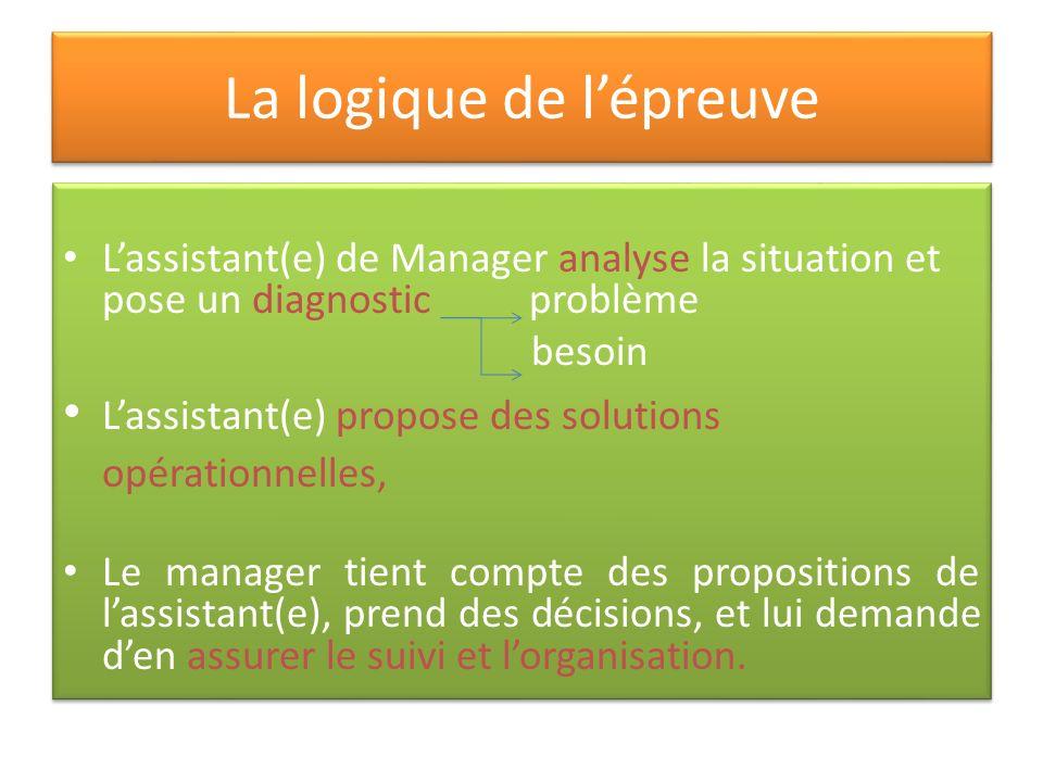 La logique de lépreuve Lassistant(e) de Manager analyse la situation et pose un diagnostic problème besoin Lassistant(e) propose des solutions opérati