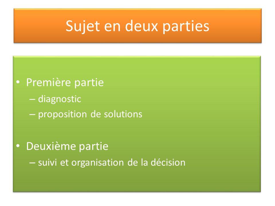 Sujet en deux parties Première partie – diagnostic – proposition de solutions Deuxième partie – suivi et organisation de la décision Première partie –