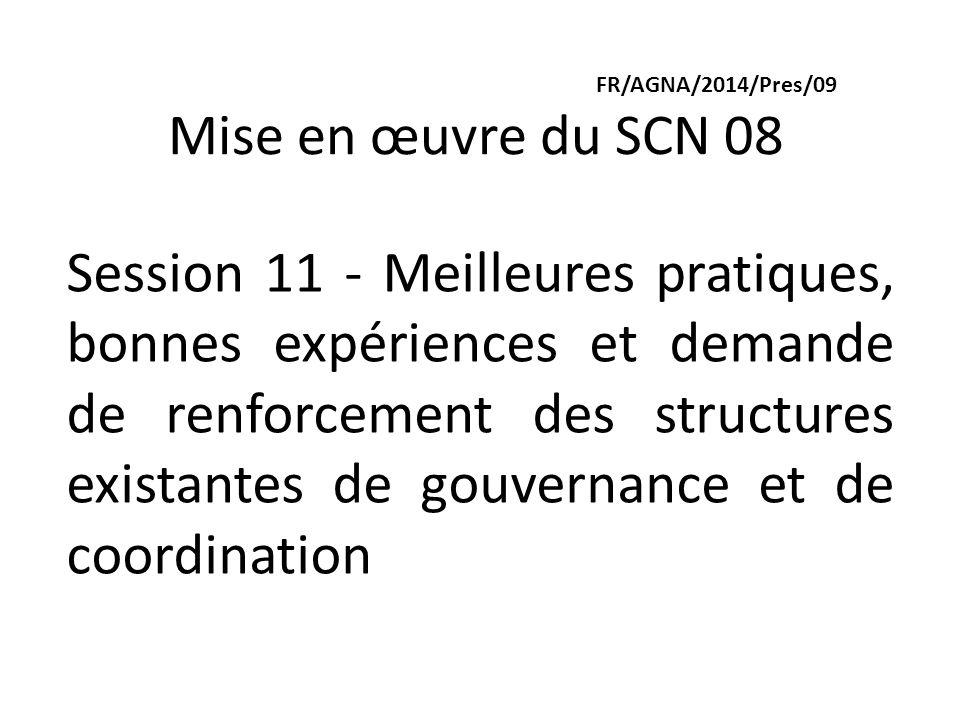 FR/AGNA/2014/Pres/09 Mise en œuvre du SCN 08 Session 11 - Meilleures pratiques, bonnes expériences et demande de renforcement des structures existantes de gouvernance et de coordination