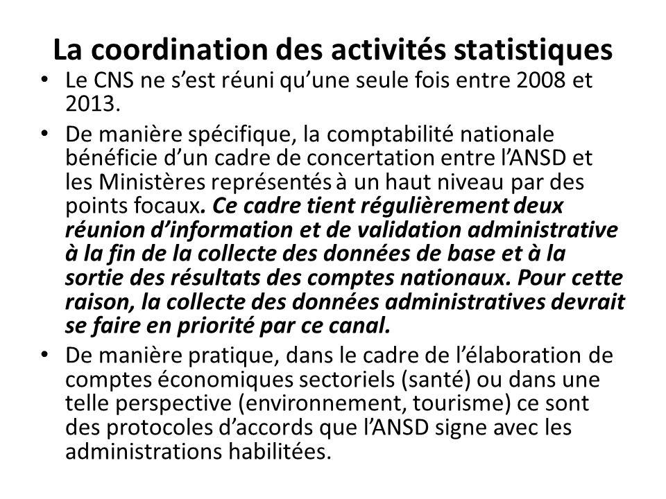 La coordination des activités statistiques Le CNS ne sest réuni quune seule fois entre 2008 et 2013.