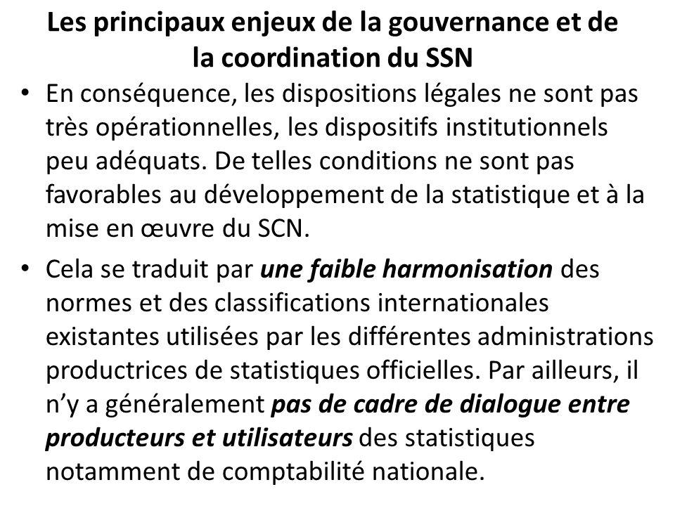 Les principaux enjeux de la gouvernance et de la coordination du SSN En conséquence, les dispositions légales ne sont pas très opérationnelles, les dispositifs institutionnels peu adéquats.