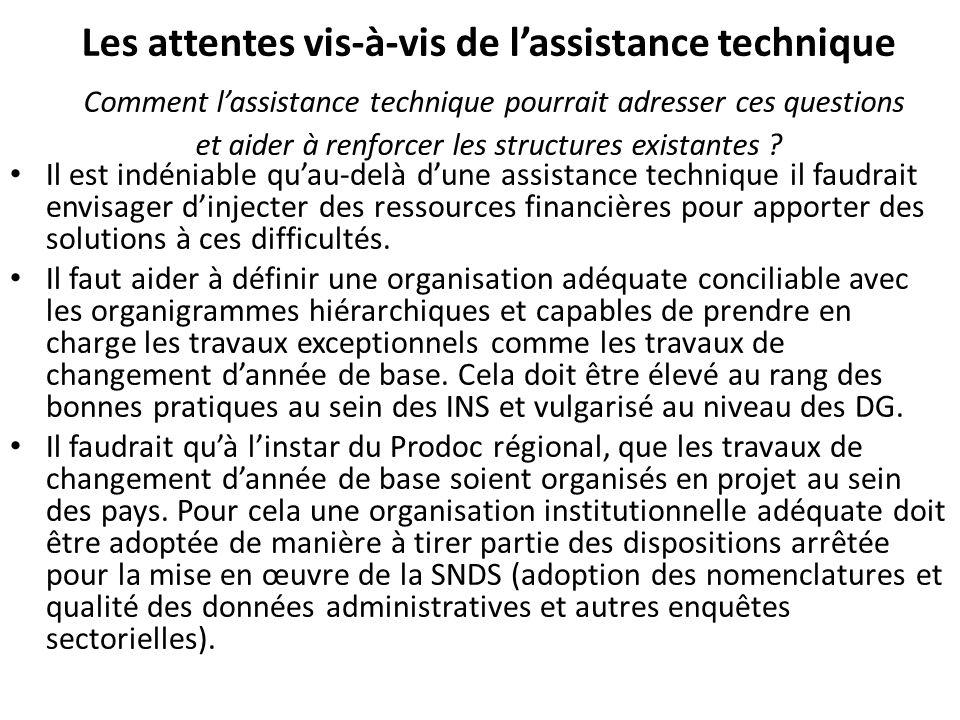 Les attentes vis-à-vis de lassistance technique Comment lassistance technique pourrait adresser ces questions et aider à renforcer les structures existantes .
