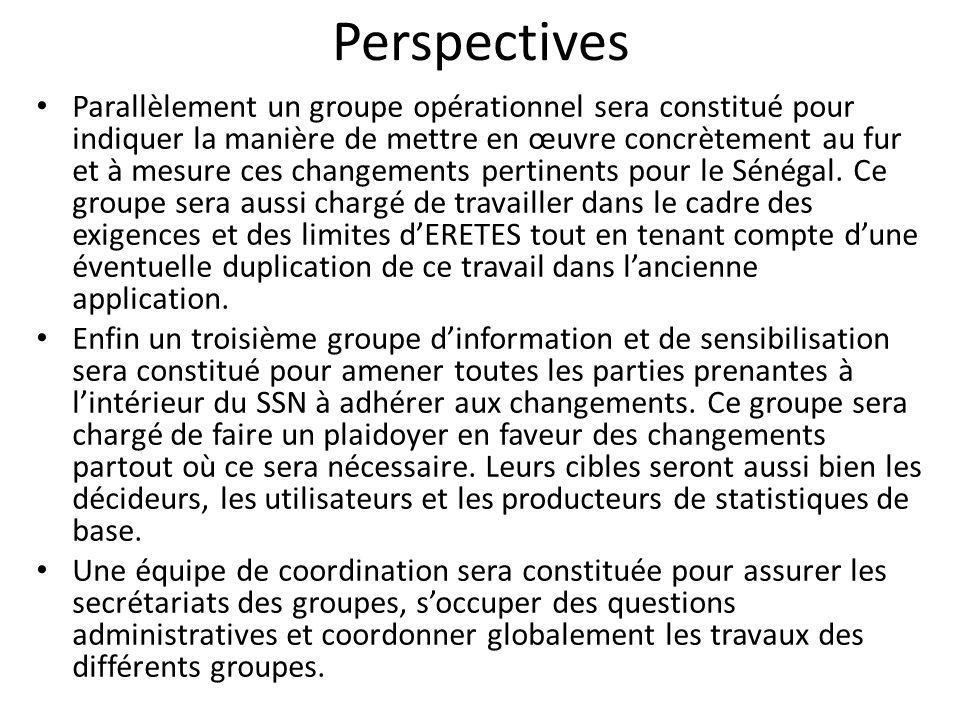 Perspectives Parallèlement un groupe opérationnel sera constitué pour indiquer la manière de mettre en œuvre concrètement au fur et à mesure ces changements pertinents pour le Sénégal.
