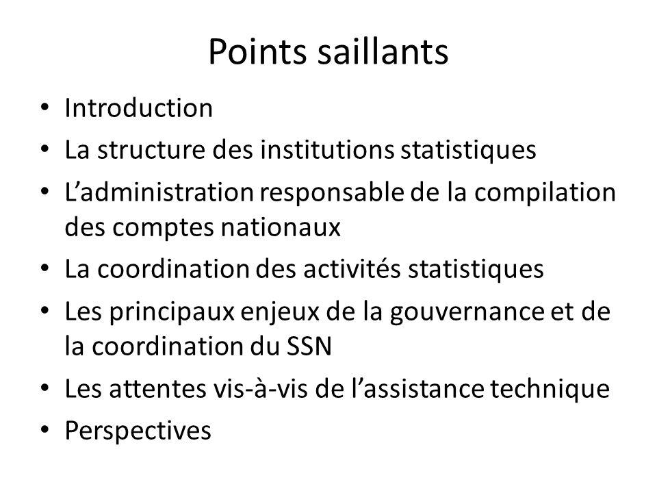 Les principaux enjeux de la gouvernance et de la coordination du SSN les enjeux de coordination sont dabord internes à lANSD composée de plusieurs Directions en plus dautres démembrements rattachés à la Direction générale.