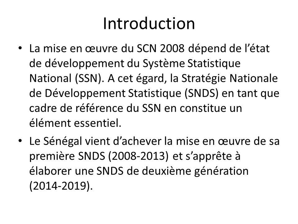 Introduction La mise en œuvre du SCN 2008 dépend de létat de développement du Système Statistique National (SSN).