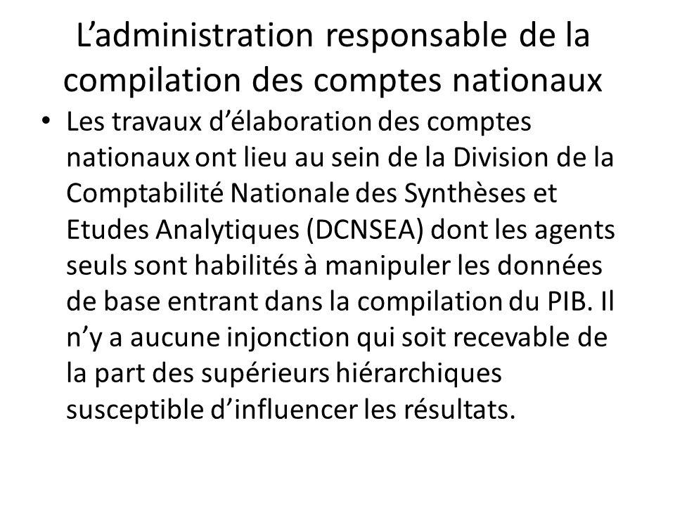 Ladministration responsable de la compilation des comptes nationaux Les travaux délaboration des comptes nationaux ont lieu au sein de la Division de la Comptabilité Nationale des Synthèses et Etudes Analytiques (DCNSEA) dont les agents seuls sont habilités à manipuler les données de base entrant dans la compilation du PIB.