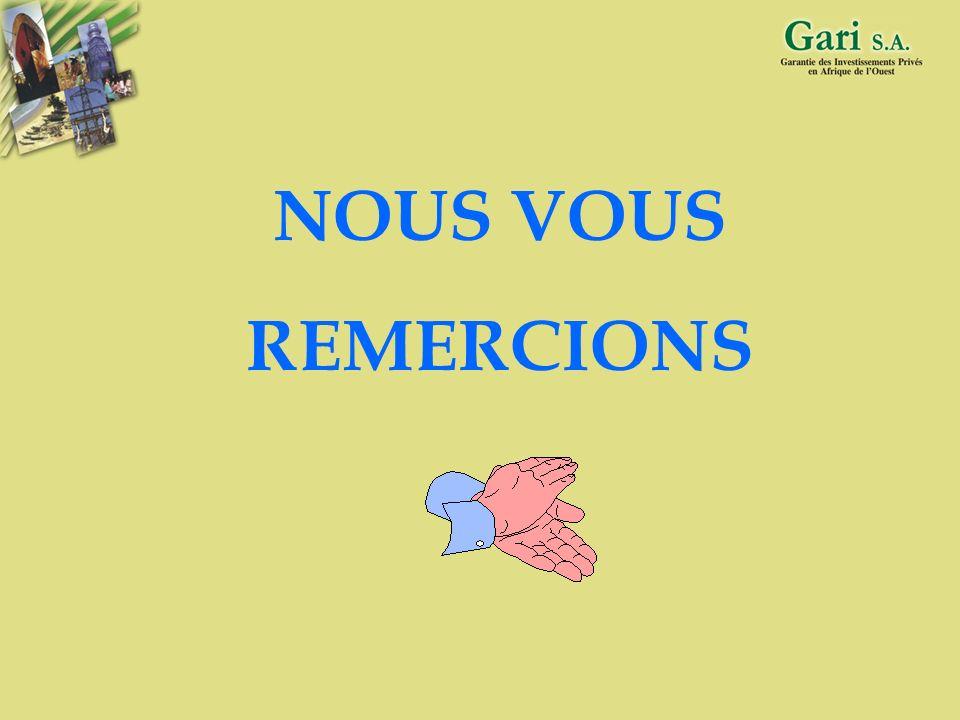 39 Gari S.A. FONDS DE GARANTIE DES INVESTISSEMENTS PRIVES EN AFRIQUE DE L OUEST Immeuble BOAD 68, Avenue de la Libération BP 985 - Lomé - TOGO Tél. :