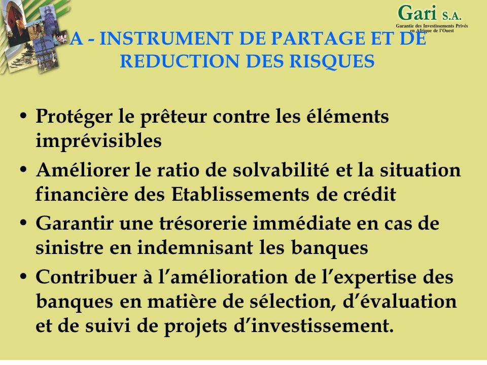 7 II – GARANTIE FINANCIERE, INSTRUMENT DE PARTAGE ET DE REDUCTION DE RISQUES