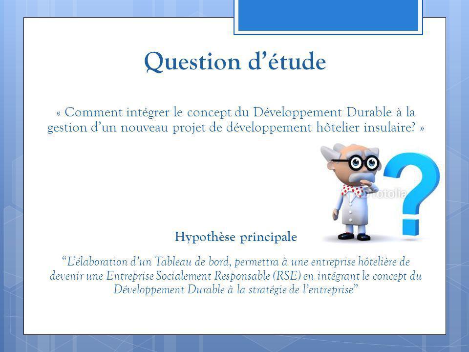 Question détude « Comment intégrer le concept du Développement Durable à la gestion dun nouveau projet de développement hôtelier insulaire? » Hypothès