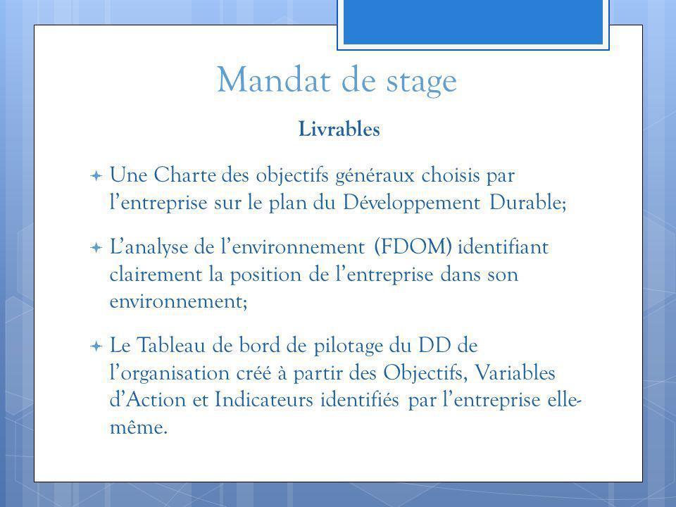 Mandat de stage Livrables Une Charte des objectifs généraux choisis par lentreprise sur le plan du Développement Durable; Lanalyse de lenvironnement (