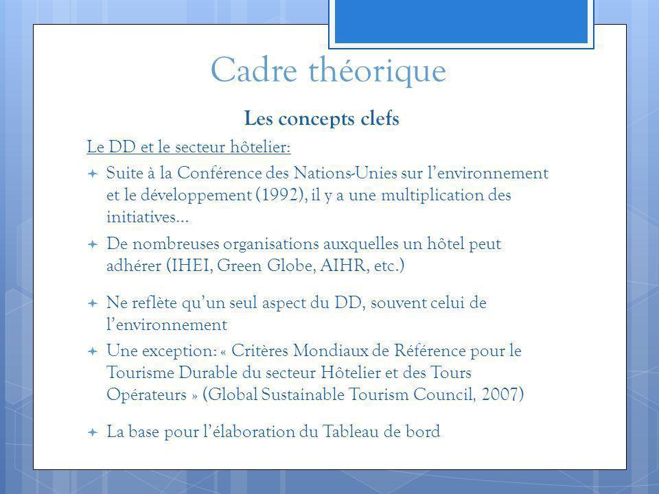 Cadre théorique Les concepts clefs Le DD et le secteur hôtelier: Suite à la Conférence des Nations-Unies sur lenvironnement et le développement (1992)