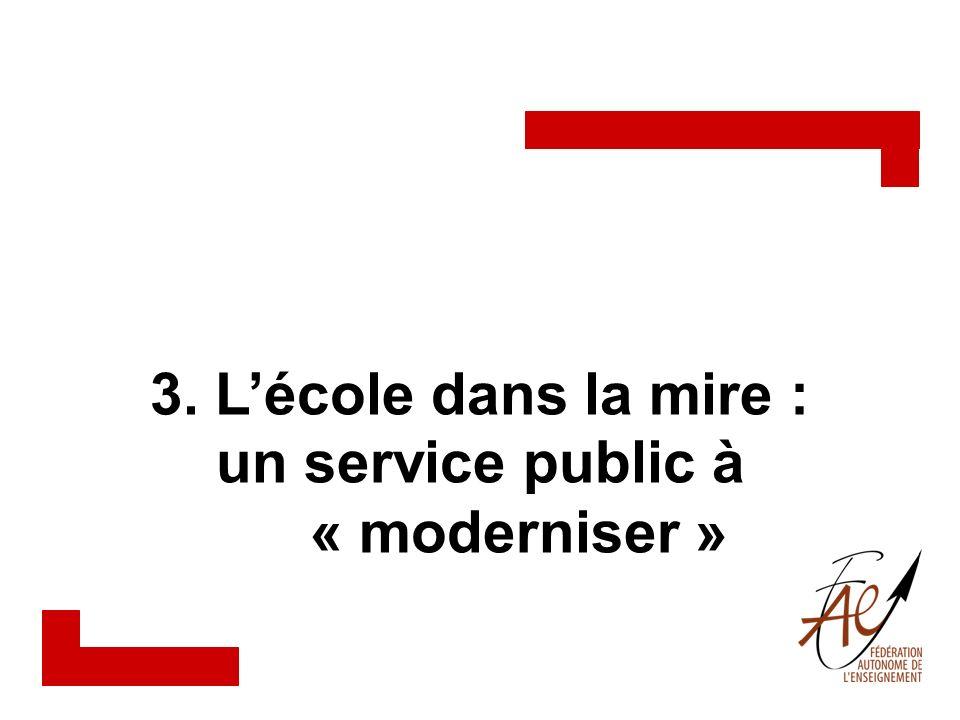 Le système déducation dans la mire En tant que service public connecté à léconomie du savoir, le réseau de léducation est doublement visé par la réforme de lÉtat (démantèlement, détournement, désengagement).