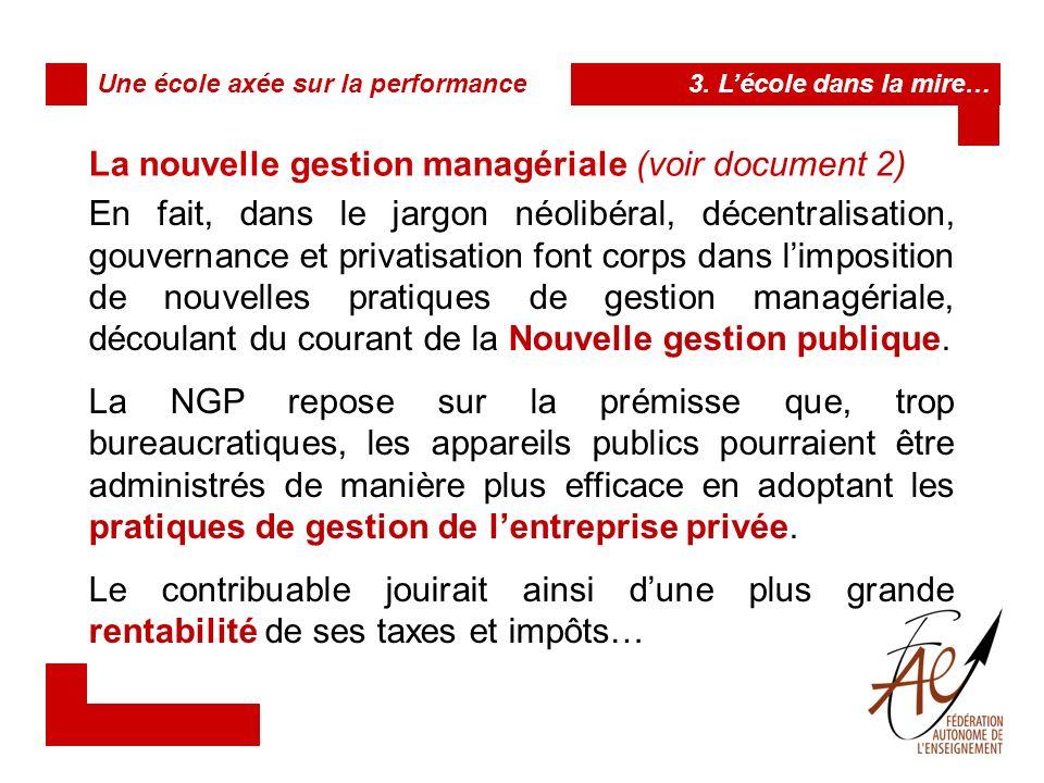Ainsi, les procédés managériaux de la NGP exigent, dans lorganisation et la prestation des services qui relèvent de lÉtat, la recherche de plus : de qualité (mesurable) de transparence (imputable) defficacité (rentable) de performance (récompensable) 3.