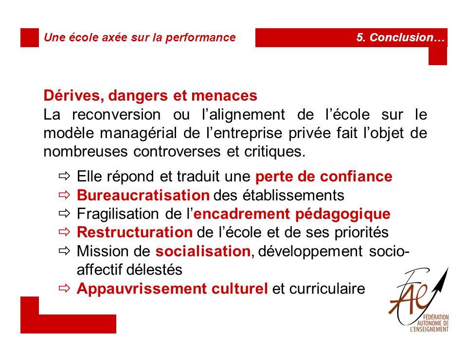 Dérives, dangers et menaces Une école axée sur la performance 5.