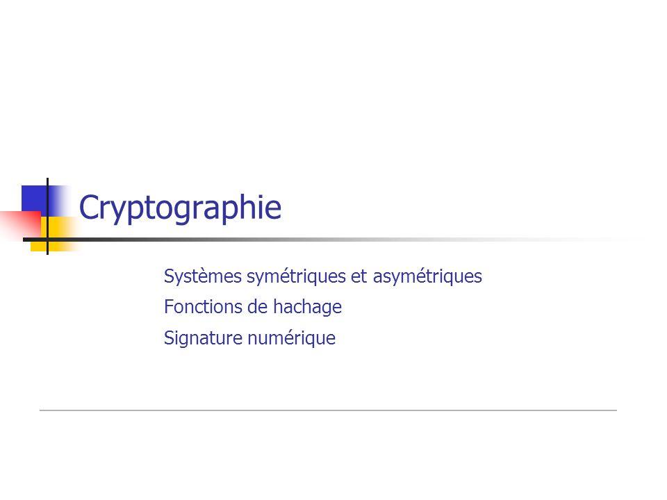 Cryptographie Systèmes symétriques et asymétriques Fonctions de hachage Signature numérique