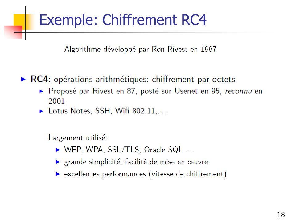 18 Exemple: Chiffrement RC4