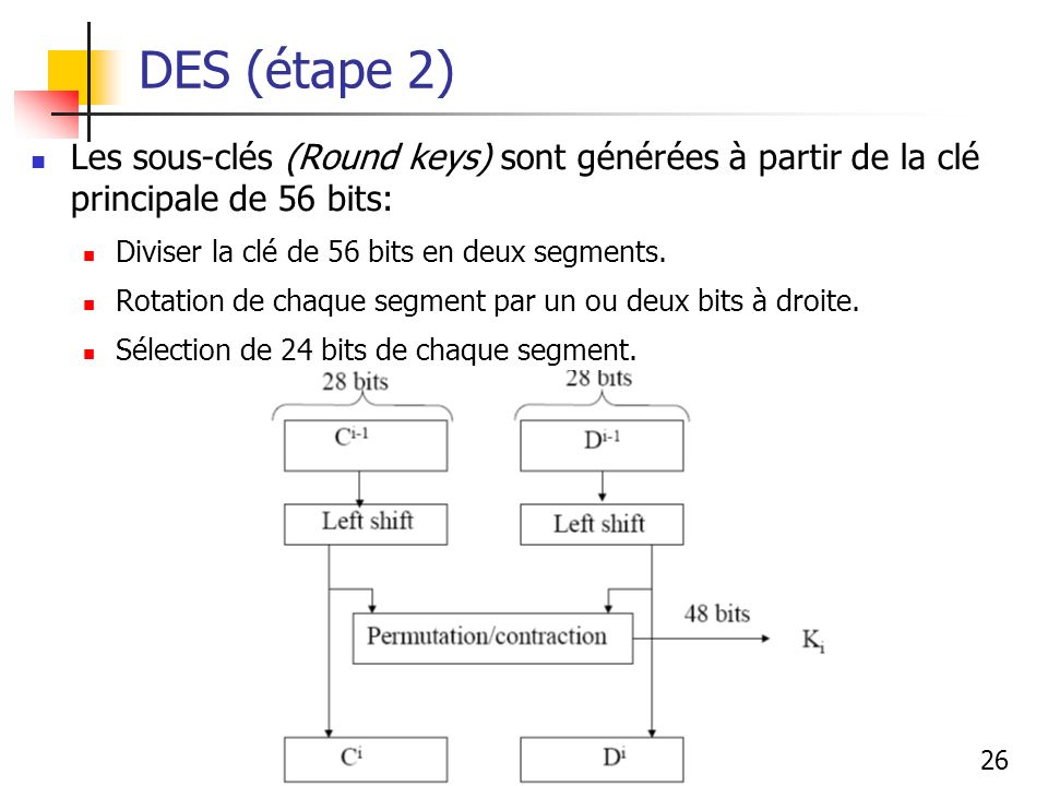 26 DES (étape 2) Les sous-clés (Round keys) sont générées à partir de la clé principale de 56 bits: Diviser la clé de 56 bits en deux segments. Rotati