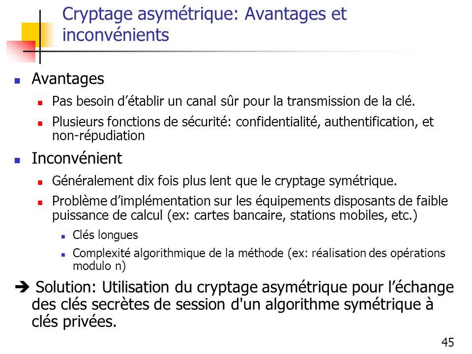 45 Cryptage asymétrique: Avantages et inconvénients Avantages Pas besoin détablir un canal sûr pour la transmission de la clé. Plusieurs fonctions de