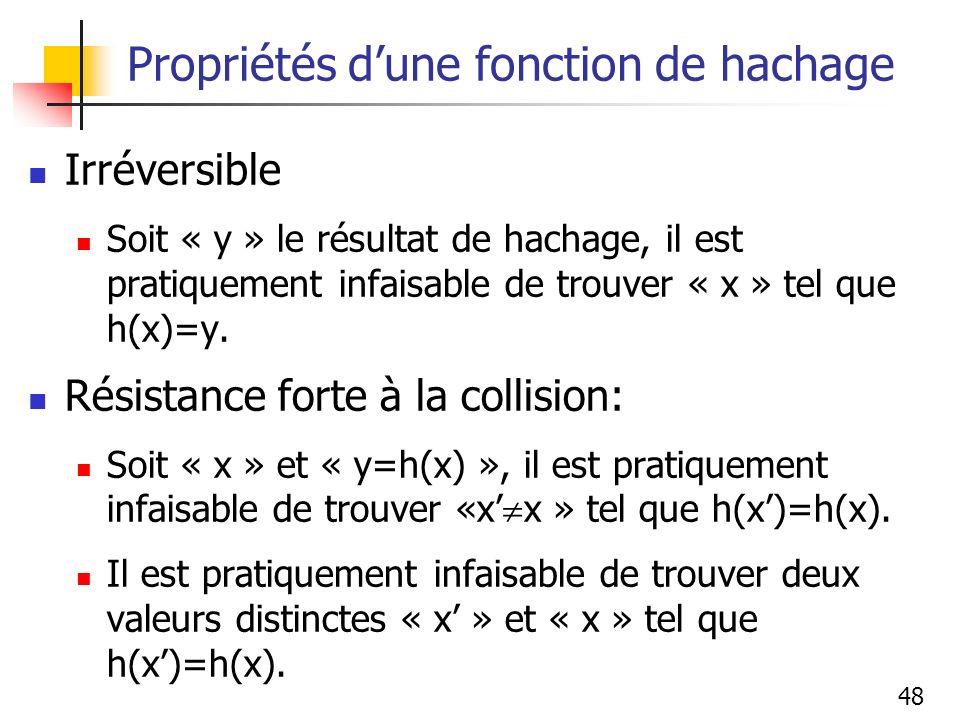 48 Propriétés dune fonction de hachage Irréversible Soit « y » le résultat de hachage, il est pratiquement infaisable de trouver « x » tel que h(x)=y.
