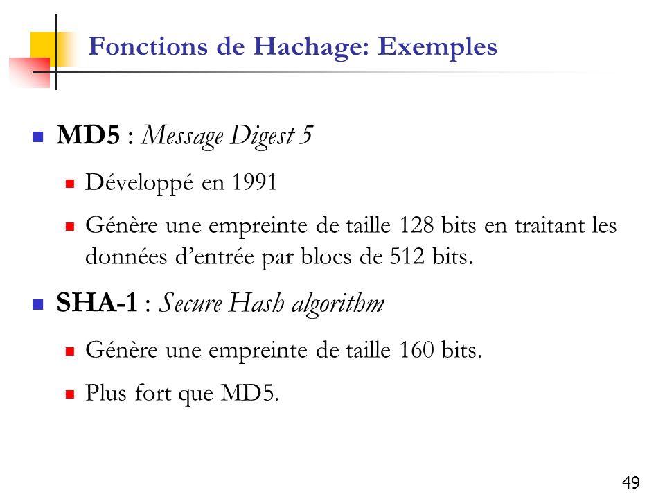 49 Fonctions de Hachage: Exemples MD5 : Message Digest 5 Développé en 1991 Génère une empreinte de taille 128 bits en traitant les données dentrée par blocs de 512 bits.
