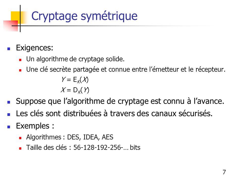 7 Cryptage symétrique Exigences: Un algorithme de cryptage solide. Une clé secrète partagée et connue entre lémetteur et le récepteur. Y = E K (X) X =