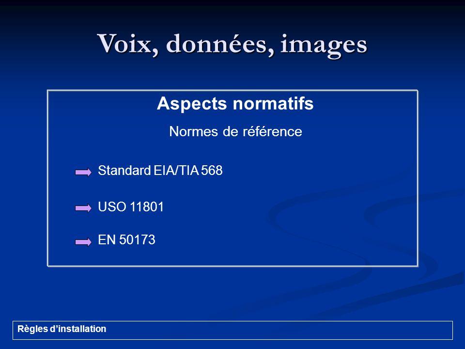 Voix, données, images Aspects normatifs Normes de référence Standard EIA/TIA 568 USO 11801 EN 50173 Règles dinstallation