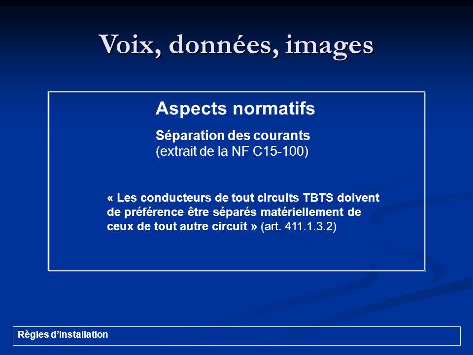 Voix, données, images Aspects normatifs Séparation des courants (extrait de la NF C15-100) « Les conducteurs de tout circuits TBTS doivent de préféren