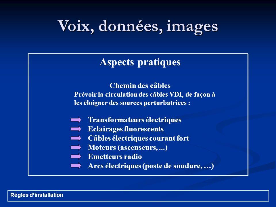 Voix, données, images Aspects pratiques Chemin des câbles Prévoir la circulation des câbles VDI, de façon à les éloigner des sources perturbatrices :
