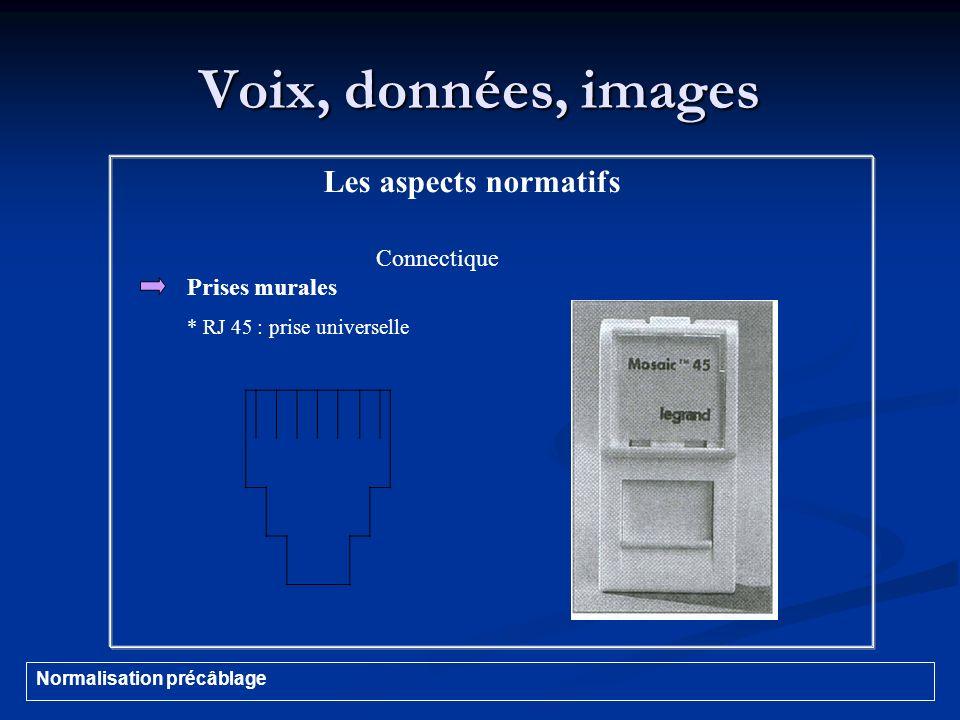 Voix, données, images Les aspects normatifs Connectique Prises murales * RJ 45 : prise universelle Normalisation précâblage