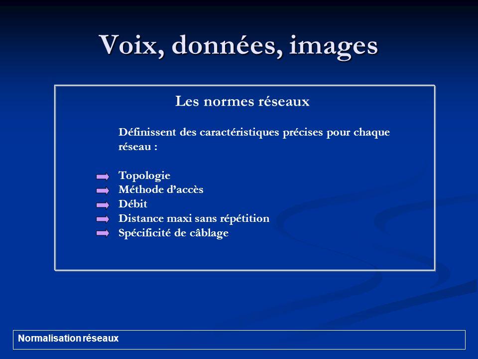 Voix, données, images Les normes réseaux Définissent des caractéristiques précises pour chaque réseau : Topologie Méthode daccès Débit Distance maxi s