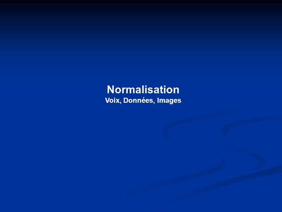 Voix, données, images Normalisation VDI Normes réseaux Normes précâblage Composants actifs Composants passifs (concentrateurs, cartes (câbles, connectique, ponts, routeurs,…) produits de brassage,…) Normes précâblage : Traitent des composants passifs inclus dans un câblage structuré (Normes produits + installation) Normalisation réseaux