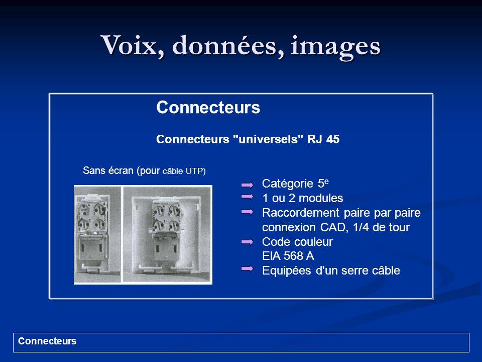 Voix, données, images Catégorie 5 e 1 ou 2 modules Raccordement paire par paire connexion CAD, 1/4 de tour Code couleur ElA 568 A Equipées d'un serre