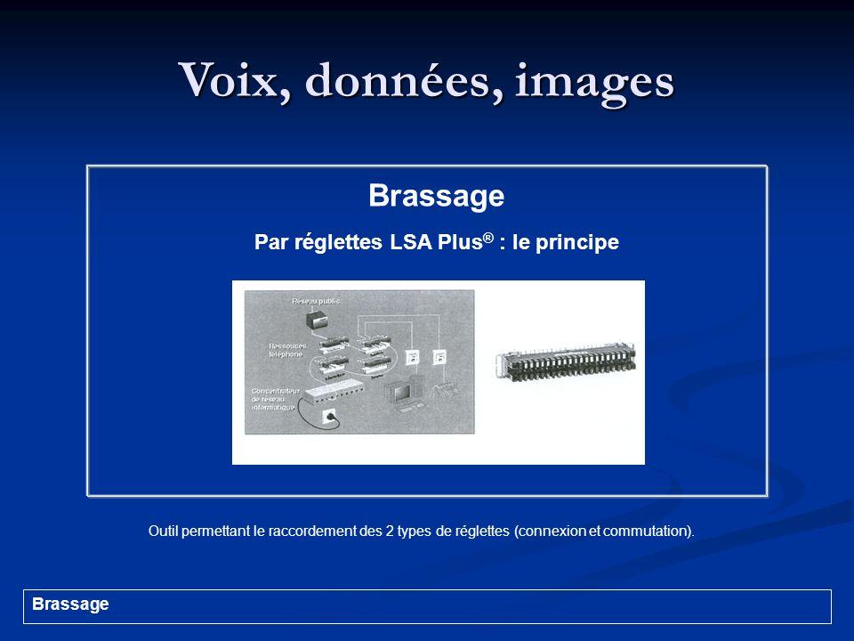 Voix, données, images Brassage Par réglettes LSA Plus ® : le principe Outil permettant le raccordement des 2 types de réglettes (connexion et commutat