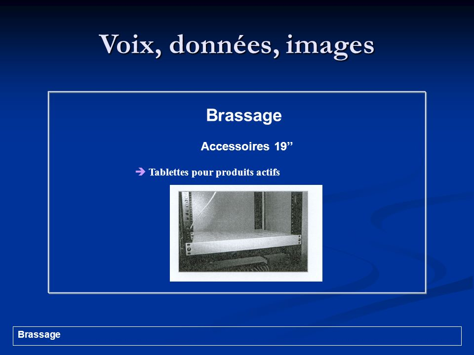 Voix, données, images Brassage Accessoires 19 Tablettes pour produits actifs Brassage