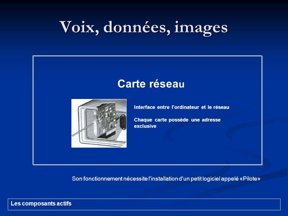 Voix, données, images Son fonctionnement nécessite l'installation d'un petit logiciel appelé «Pilote» Carte résea u Interface entre l'ordinateur et le