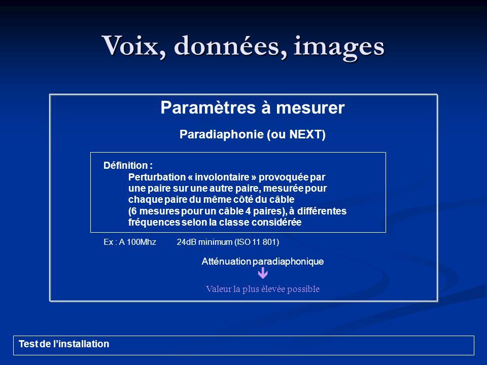 Voix, données, images Paramètres à mesurer Paradiaphonie (ou NEXT) Définition : Perturbation « involontaire » provoquée par une paire sur une autre pa