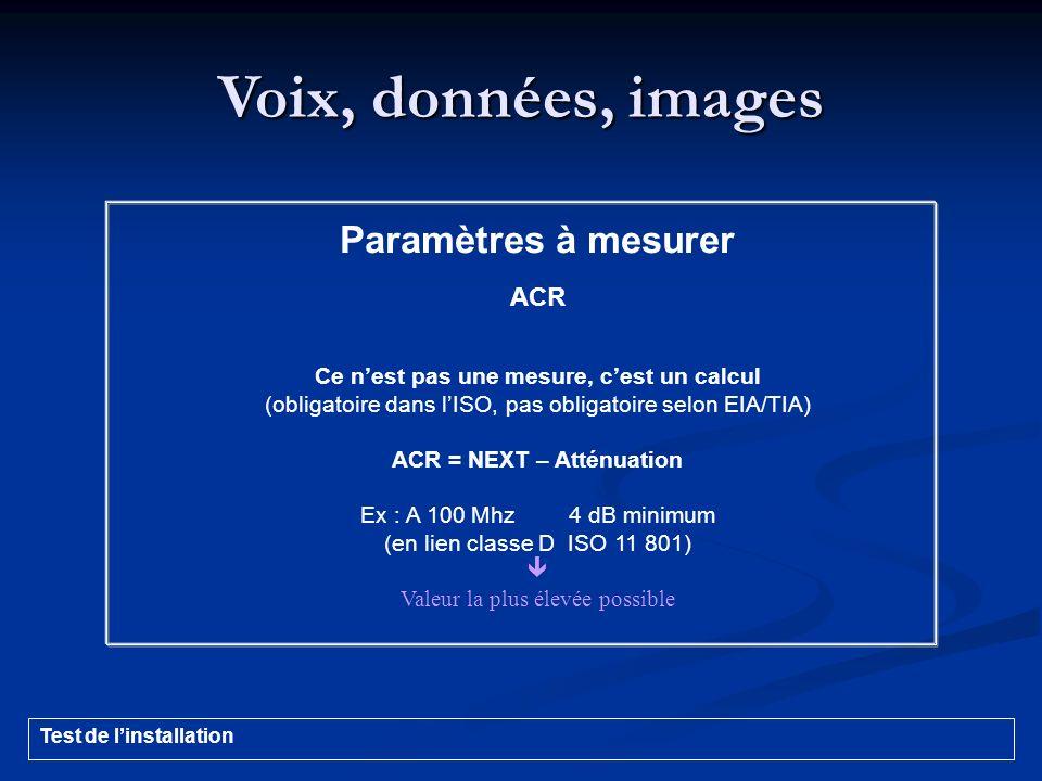 Voix, données, images Paramètres à mesurer ACR Ce nest pas une mesure, cest un calcul (obligatoire dans lISO, pas obligatoire selon EIA/TIA) ACR = NEX