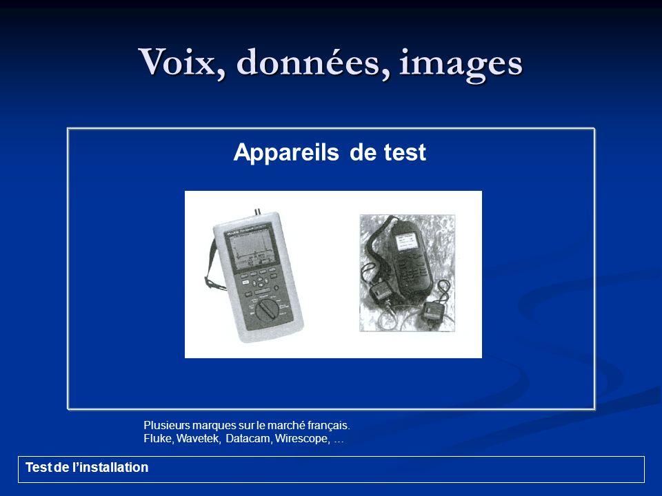 Voix, données, images Appareils de test Plusieurs marques sur le marché français. Fluke, Wavetek, Datacam, Wirescope, … Test de linstallation