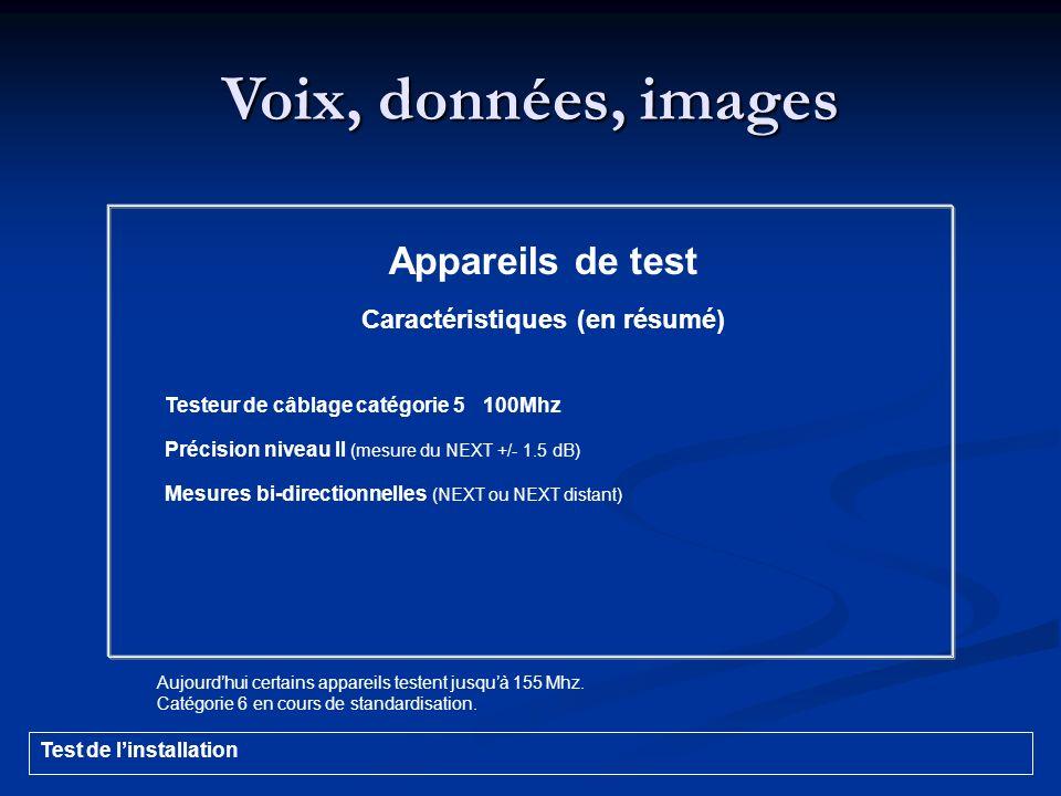 Voix, données, images Appareils de test Caractéristiques (en résumé) Testeur de câblage catégorie 5100Mhz Précision niveau II (mesure du NEXT +/- 1.5