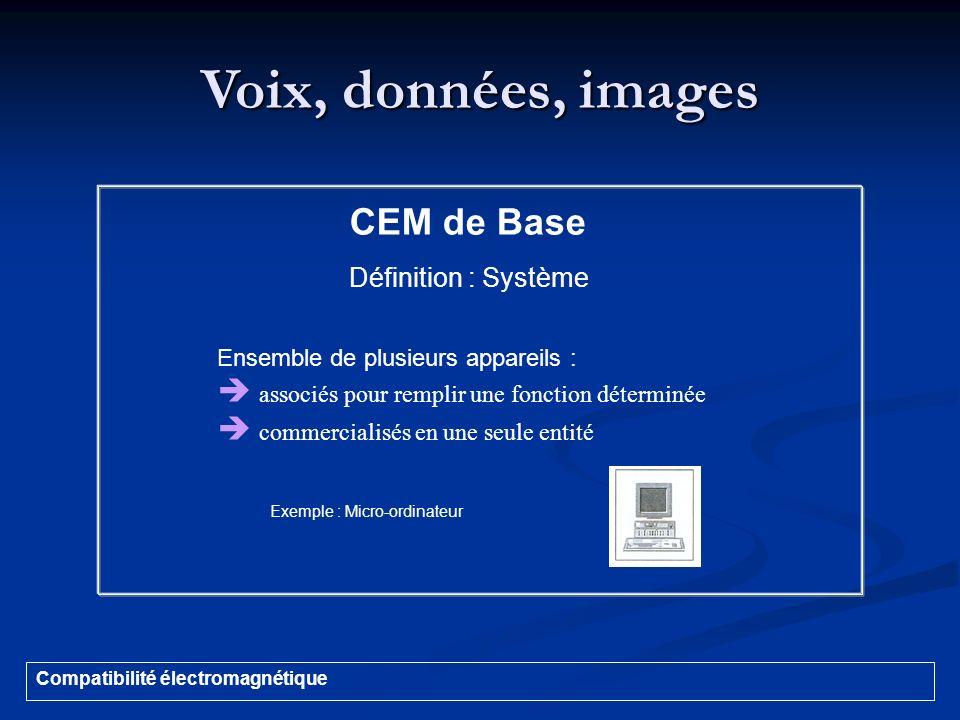 Voix, données, images Compatibilité électromagnétique CEM de Base Définition : Système Ensemble de plusieurs appareils : associés pour remplir une fon