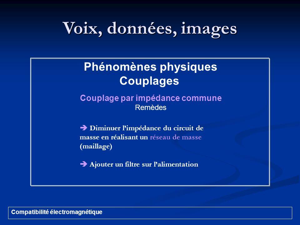 Voix, données, images Compatibilité électromagnétique Phénomènes physiques Couplages Couplage par impédance commune Remèdes Diminuer limpédance du cir