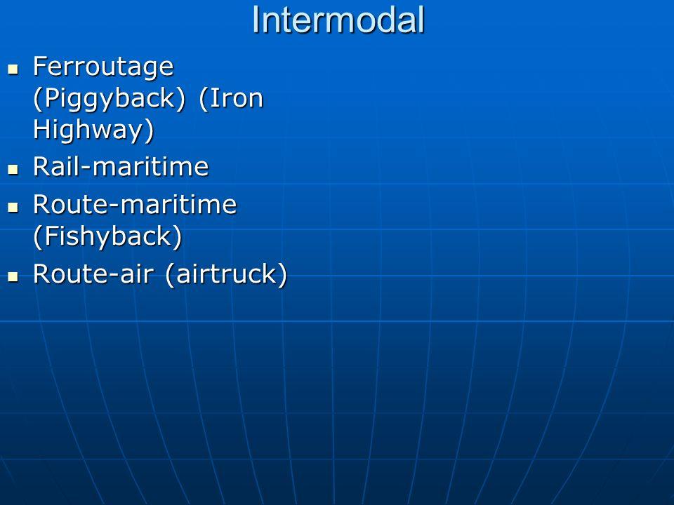 Intermodal Ferroutage (Piggyback) (Iron Highway) Ferroutage (Piggyback) (Iron Highway) Rail-maritime Rail-maritime Route-maritime (Fishyback) Route-ma