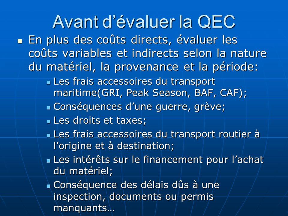 Avant dévaluer la QEC En plus des coûts directs, évaluer les coûts variables et indirects selon la nature du matériel, la provenance et la période: En