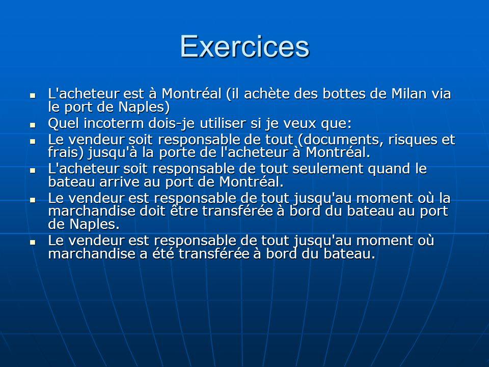 Exercices L'acheteur est à Montréal (il achète des bottes de Milan via le port de Naples) L'acheteur est à Montréal (il achète des bottes de Milan via