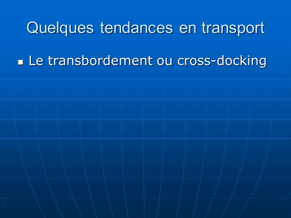 Quelques tendances en transport Le transbordement ou cross-docking Le transbordement ou cross-docking